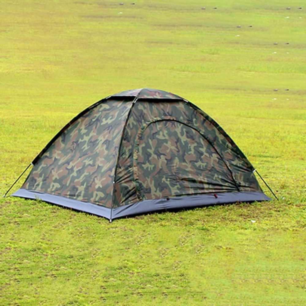 Berkemah Di Luar Ruangan Portabel Double Orang Tenda Tahan Air Kotoran Tahan Kamuflase Tenda Lipat untuk Bepergian Hiking