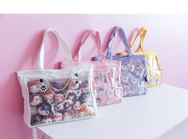 Transparent shoulder bag ita Bag Canvas Handbag Japanese for Dango Badge Show Only Bag, no decorates +Track