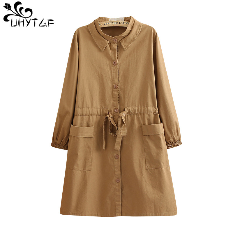 UHYTGF Splice Hollow Ladies Long sleeve   Trench   coat Korean Loose Lace Plus size female   Trench   coats 2019 Spring autumn Women 291