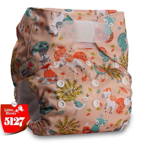 [Littles&Bloomz] Один размер многоразовые тканевые подгузники Моющиеся Водонепроницаемые Детские карманные подгузники стандартная застежка на липучке - Цвет: 5127