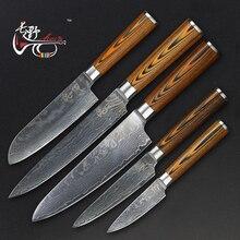 Haoye Дамасская сталь пять частей кухонные ножи комплект японский высокое качество шеф-повар santoku Фруктовый нож многоцелевой столовые приборы подарок