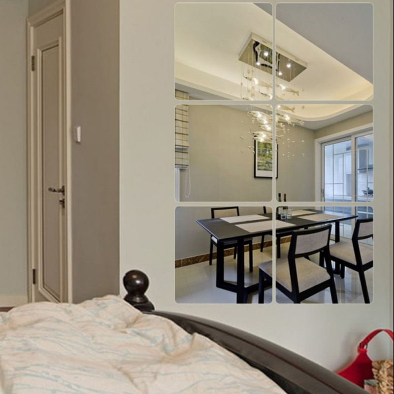 Newest 6pcs Set Modern DIY Self Adhesive 3D Mirror Tile Square Wall Stickers For Home Bedroom Living Room Decorations In From Garden On