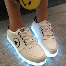 7 colors LED shoes luminous lovers fashion Women USB Charge light up shoes for adults glowing flats Women shoes size 35-44