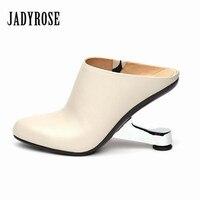 Jady Роза Для женщин насосы металла на необычном каблуке Свадебные модельные туфли женская обувь из натуральной кожи Босоножки на высоких ка