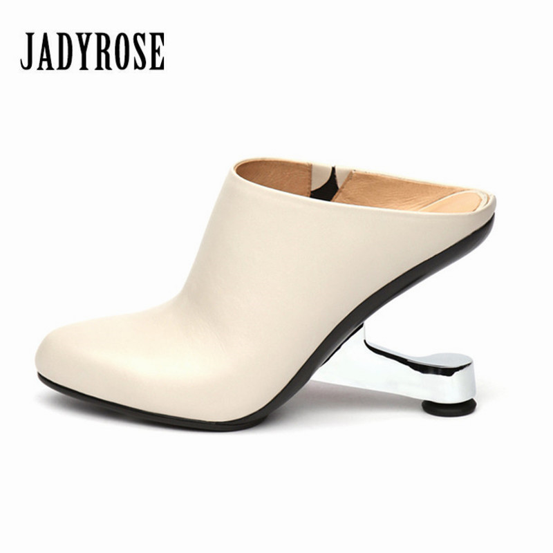 Jady Rose Women Pumps Metal Strange Heel Wedding Dress Shoes Woman Genuine Leather High Heel Slippers Valentine Shoes Stiletto brand new woman real genuine leather square heel half short boots women retro square toe heeled shoes footwear size 34 39