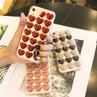 100PCS For iPhone 8 7 6s 6 Phone Case Fashion Cute Love Heart Sequins Transparent TPU Cover For iPhone X Case Red Love Heart