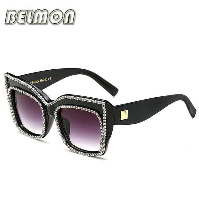Strass moda de Luxo óculos de Sol Das Mulheres Designer De Marca Diamante Esculpido Fotocromáticas Óculos de Sol Para Senhoras Feminino Oculos RS286