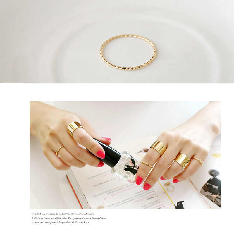 Two Colors - Gold and Silver Fashion Simple Twist Fine Screw Thread  Opening Adjustable Ring for Women's Jewelry