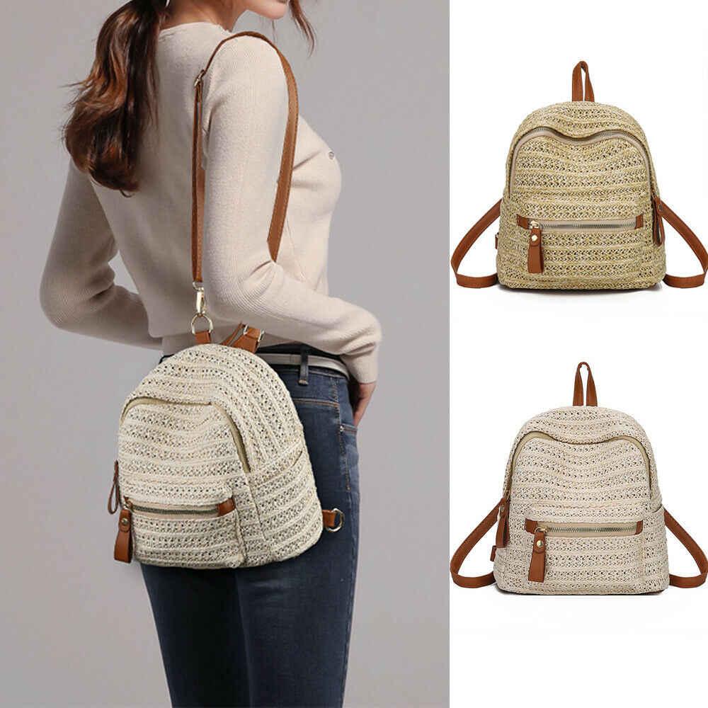 2019 новейшая Горячая женская Соломенная плетёная ротанговая дорожная рюкзаки для девочек летние пляжные школьные рюкзаки рюкзак сумка