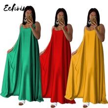 Echoine Summer Beach Sexy Spaghetti Strap Sleeveless Silk Casual Loose Long Dress Women Vintage Solid Color Maxi Plus Size