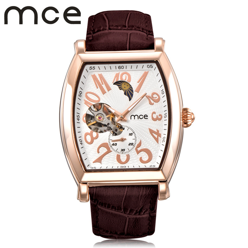 2018 new MCE brand Automatic Mechanical Watches for men skeleton Tourbillon Moon Phase fashion Watch leather strap clock 447 mce brand men self wind waterproof leather strap automatic mechanical male black white dial fashion tourbillon watch men clock