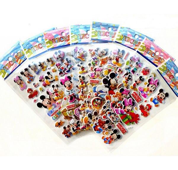 6 sheets 3D Cartoon Bubble stickers Mickey Princess Car Winnie animal wall stickers for kids gift puffy reward Notebook Sticker
