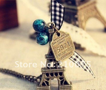Fashion Necklace Metal alloy Eiffel Tower Pendant Antique Necklace Free shipping Bowknot Blue Beads tower necklace10pcs/lotE4040