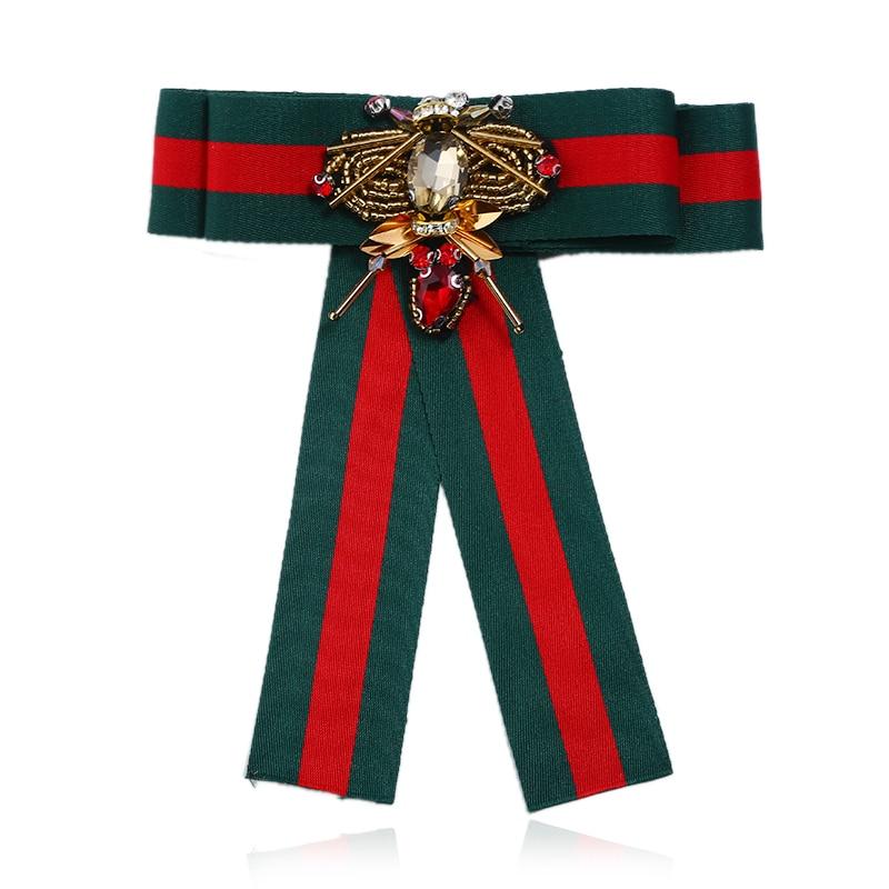 Mode cou cravates Corsage Broche nœud papillon cravate tissu ruban Broche collier abeille noeud Broche broches pour les femmes robe chemise bijoux