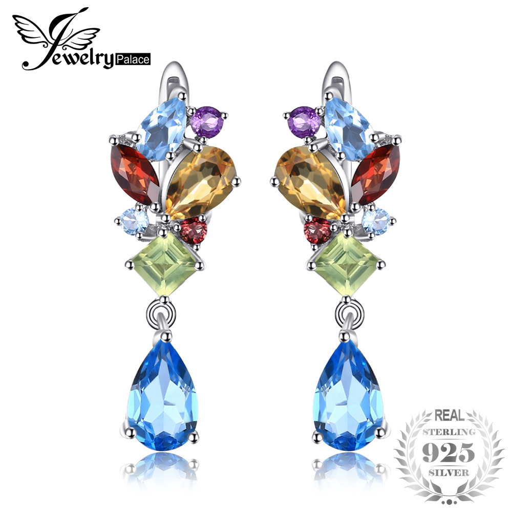 все цены на JewelryPalace Fashion 4ct Multicolor Natural Blue Topazs Amethysts Citrines Garnets Peridots Earrings Clip 925 Sterling Silver онлайн