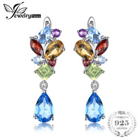 JewelryPalace Fashion 4ct Multicolor Natural Blue Topazs Amethysts Citrines Garnets Peridots Earrings Clip 925 Sterling Silver