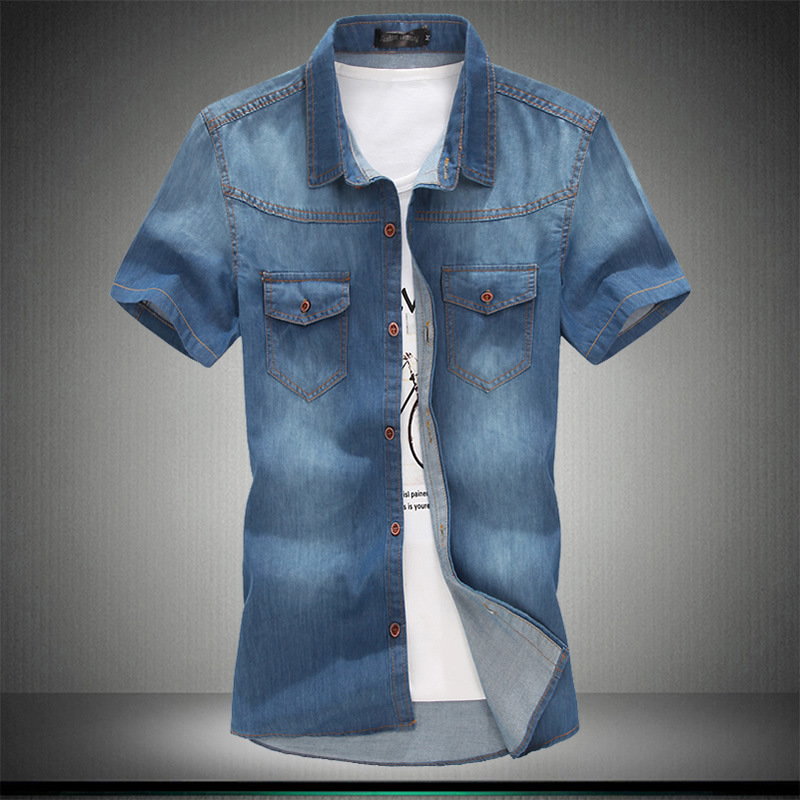 Plus Asian Size L-5XL 6XL 7XL 8XL 100% Denim COTTON Shirt For Men Short Sleeves 2019 Summer Style Fashion Casual Clothing