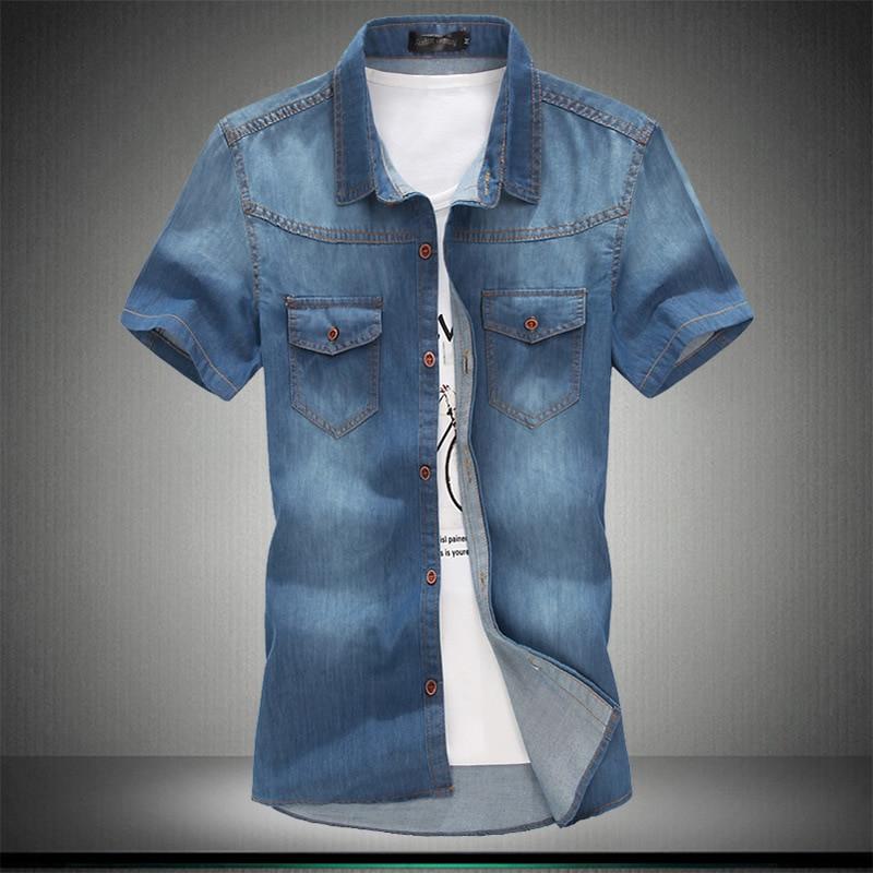 Plus Asian Size L-5XL 6XL 7XL 8XL 100% Denim COTTON Shirt For Men Short Sleeves 2019 Summer Style Fashion Casual Clothing
