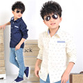 Fashion Boys Long Sleeve Cotton Shirts Casual Shirts Button Down Tops Single Pocket Tee Kids Clothings