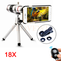 Phone Lentes Kit Fisheye Wide Angle Macro lens+Tripod+18x Zoom Telescope Telephoto Lenses For iPhone 6 6s 7 Plus 5 5s Samsung