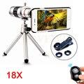 Telefone Kit de Lentes Olho de Peixe Grande Angular Macro lens + Tripé + 18x Zoom Telescópio lentes de telefoto para iphone 6 6 s 7 plus 5 5S samsung