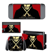 Купить V for Vendetta Decal Vinyl Skin Protector Sticker for Nintendo Switch NS Console + Controller + Stand Holder Protective Skin онлайн с доставкой