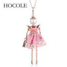 HOCOLE cute doll women pendant necklace 4 colors long chain handmade dress girls fashion jewelry flower collier femme