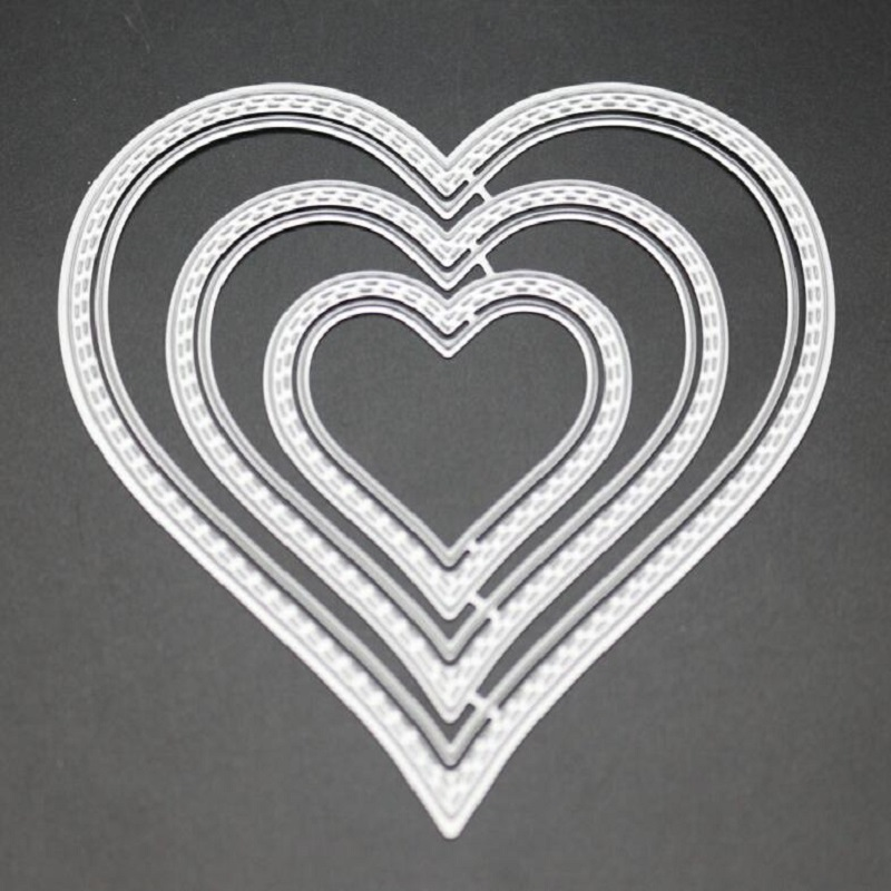 FeLicearts 3pcs layerring heart dies for scrapbooking DIY albulm photo decorative Love wedding paper craft card making template in Cutting Dies from Home Garden