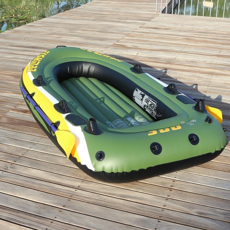 FISHMAN 3 personne bateau à poisson 252*125*40 cm PVC bateau gonflable pêche kayak pompe à aubes sac de transport sac à dos canot radeau rame pagaie - 2