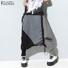 ZNAZEA Plus Size Women Pants Casual Drop-Crotch Patchwork Harem Wide Leg Trousers Strappy Long Pantalon Femme Streetwear