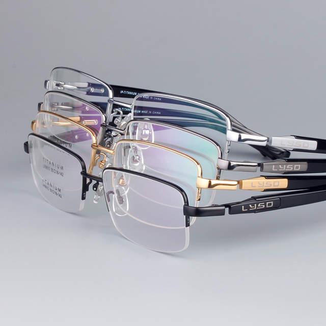 d6c512785c Online Shop Vazrobe Titanium Gold Eyeglasses Frame Men Half Frame Wide Face Semi  Rimless Glasses Frames for Man Spectacles Customized Lens
