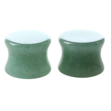 1 Pair of Solid Jade Stone Organic Ear Plugs Gauges Rings Tunnels Piercing Jewelry Green, 12.5mm(China)