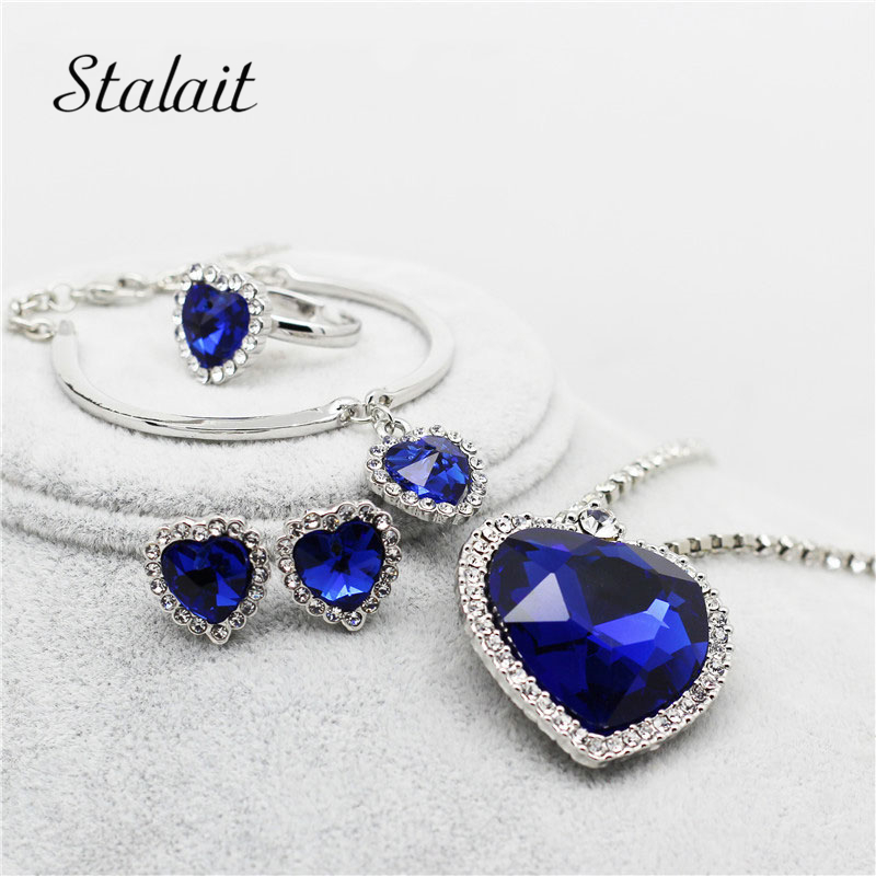 Fashion Darkblue Heart Jewelry Silver Color Crystal Rhinestone Pendant Necklace Earring Ring Jewelry Set For Women