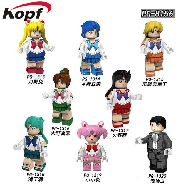 Single Sailor Moon Building Blocks Bricks Action Figures Dolls Month Hare Mizuno Ami Muye Zhenqin Kids Toys For Children Pg8156