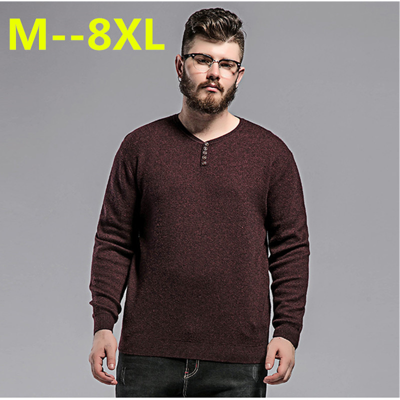 Plus size 10XL 8XL 6XL 5X 2017 new autumn knitted pullovers Sweater man,Cotton black khaki solid clothes v-neck pullover Sweater