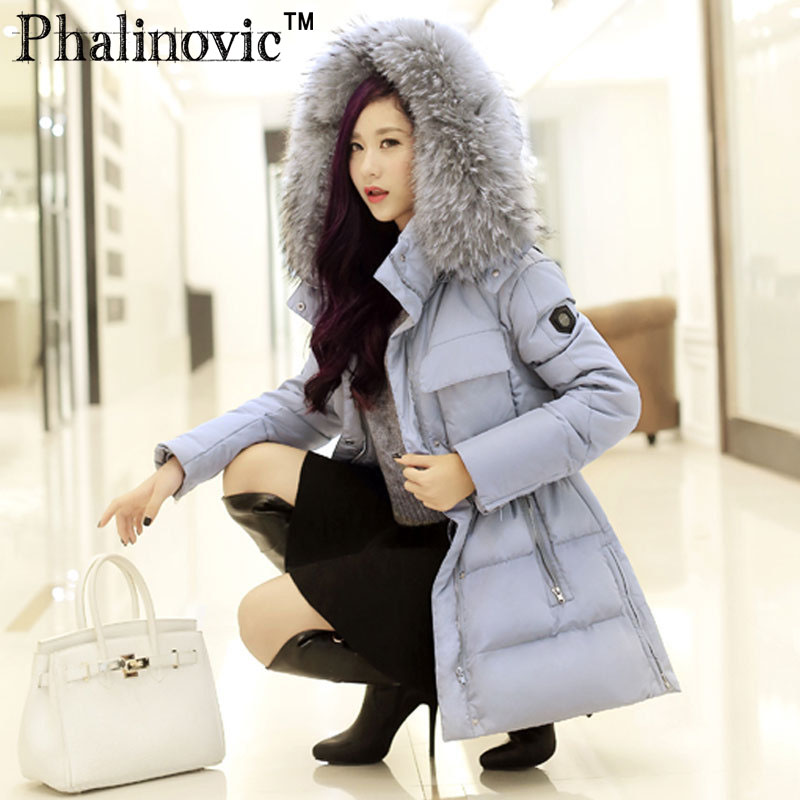 Phalinovic 2017 Winter Female Down Coat Hooded Fur Jacket New Womens Luxurious Long Down Jackets Woman Thicken Outerwear Parkas