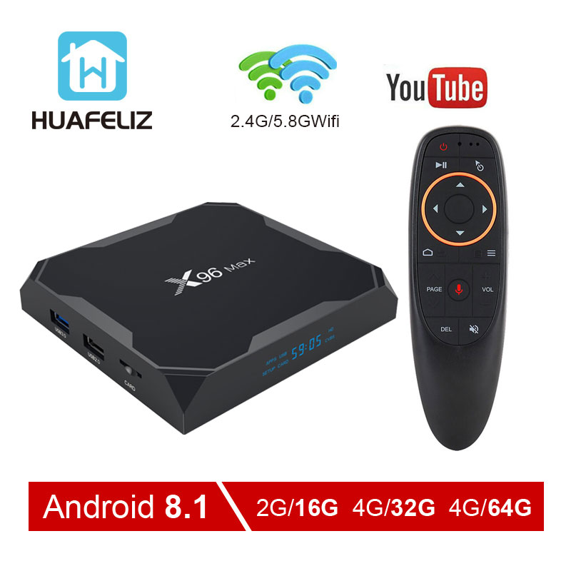 X96Max Smart TV BOX Android 8.1 Tv Box Amlogic S905X2 Quad Core 4GB32GB64GB 2.4G & 5GHz Wifi BT 1000M 4K X96Max décodeur