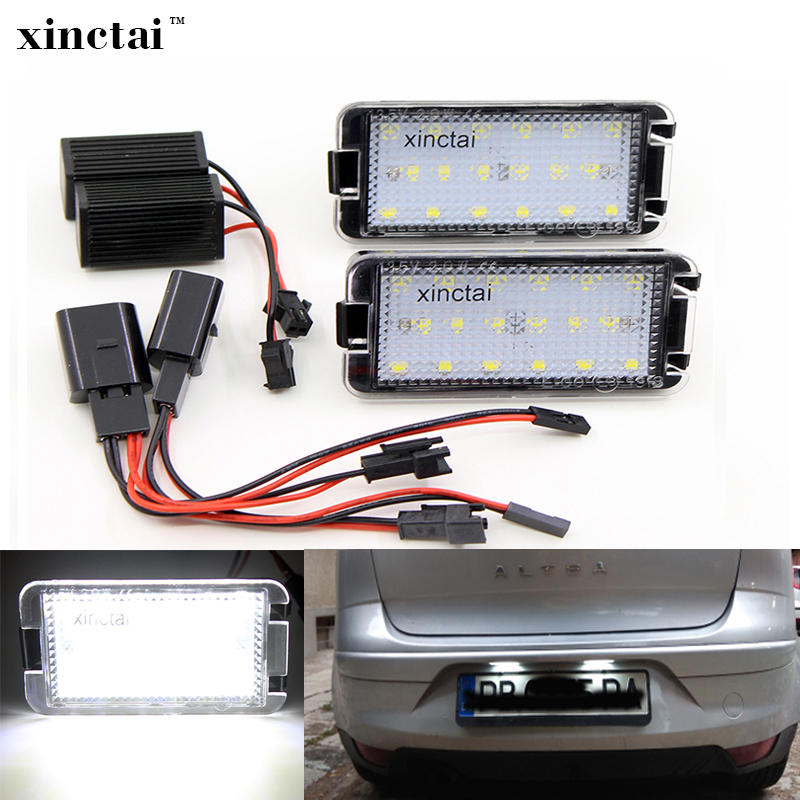 2PCS Error Free LED License Plate Light For Seat Altea Leon Ibiza 6L Arosa Toledo 5P Cordoba Mk1 Mk2