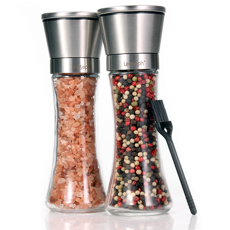 Salt and Pepper Grinder Set of 2, Adjustable and Easy To Use, 304 Stainless Steel Top and Thick Glass Body