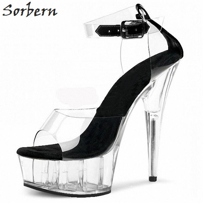 Sorbern Women Sandals 2018 15cm Heels Platform Shoes Plus Size PVC Summer Ladies Party Shoes Unisex Dance Sandals Peep Toe sorbern women summer sandals shoes plus size 15cm transparent spike heels fashion ladies party shoes new arrive sandalia s