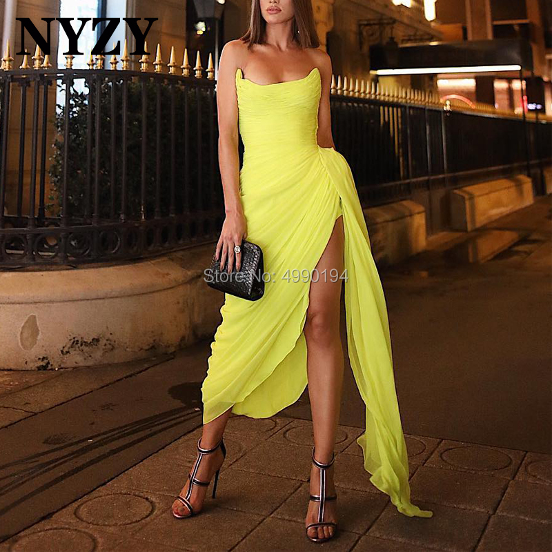 NYZY C118 Sexy High Slit Chiffon Yellow Robe De Cocktail Dress For Wedding Party Evening Prom Graduation Vestidos Coctel 2019