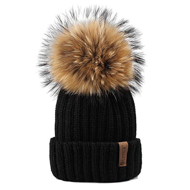 Furtalk Knitted Real Fur Hat 100% Real Raccoon Fur Pom Pom Hat Winter Women Hat beanie for women