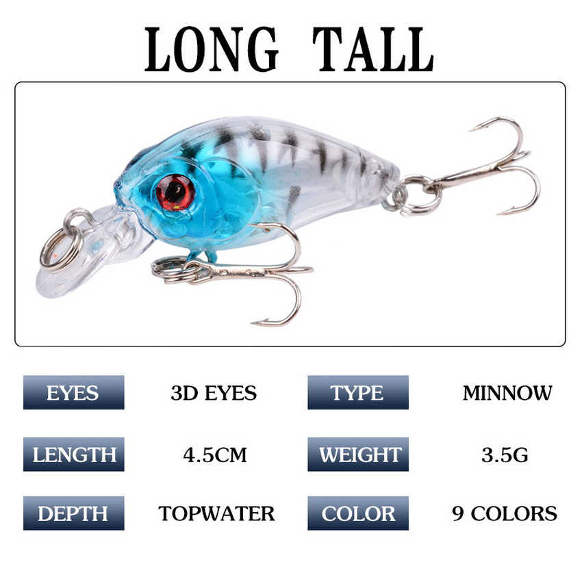 45mm 4.1g appâts de pêche à la manivelle artificiels durs appâts de pêche basse Wobblers japon Topwater Minnow leurres de poisson