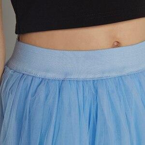 Image 5 - 4 schichten 100cm bodenlangen Röcke für Frauen Elegante Hohe Taille Gefaltete Tulle Rock Brautjungfer Ballkleid Brautjungfer Kleidung