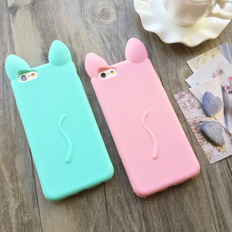 Cartoon 3D kawaii cute Ear Cat <font><b>Case</b></font> covers For Apple <font><b>IPhone</b></font> 4 4s Ear soft silicone <font><b>phone</b></font> <font><b>Case</b></font>