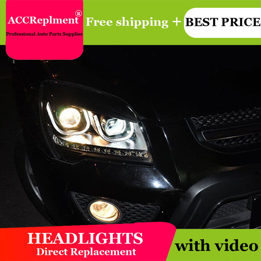 AUTO.PRO 2007 2013 For kia sportage headlights LED lights bars DRL bi xenon lens H7 xenon Angel Eyes head lamps car styling