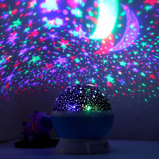 Sanyi 4 Led Rotating Star Projector Novelty Lighting Moon Sky Rotation Kids Baby Nursery Night Light