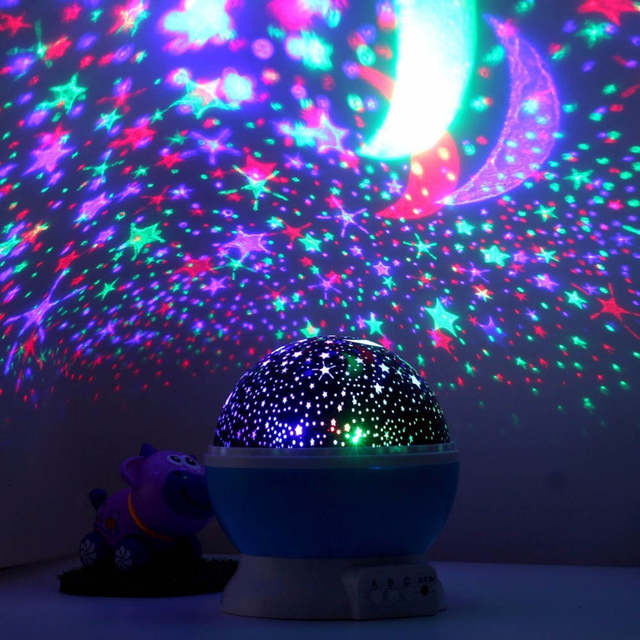 Us 9 23 40 Off Sanyi 4 Led Rotating Star Projector Novelty Lighting Moon Sky Rotation Kids Baby Nursery Night Light Battery Operated Emergency In