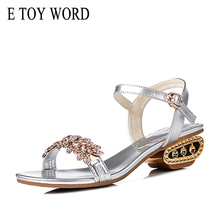E TOY WORD women med heel sandals summer ladies shoes with Bling Rhinestone Sandals Women fashions Large Size 40 41 Shoes