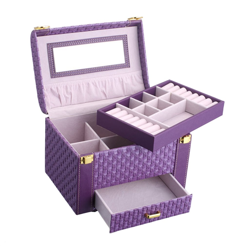 Earrings Bracelet Jewelry Packaging Box Casket For Jewelry Exquisite Makeup Case Rings Organizer Container Boxes Birthday Gifts